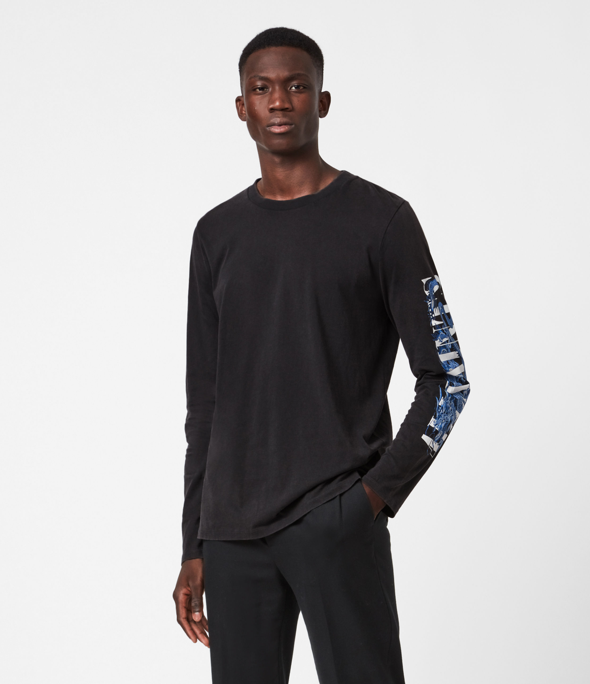 AllSaints Draco Long Sleeve Crew T-Shirt