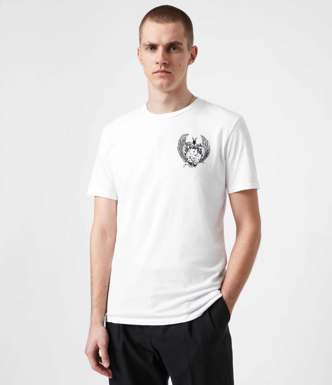 AllSaints Men's Los Highway Crew T-Shirt, Optic White, Size: XXL