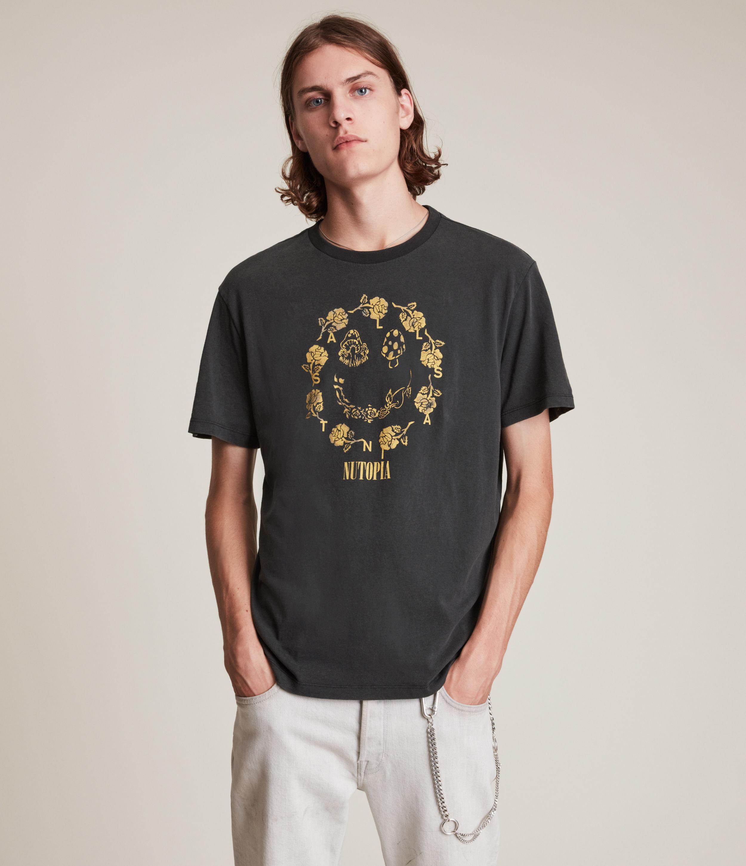 AllSaints Men's Posie Crew T-Shirt, Black/Yellow, Size: L