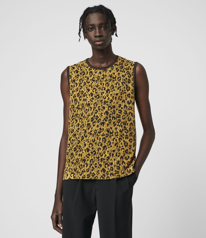 AllSaints Mens Leon Sleeveless Crew T-Shirt, Yellow and Black, Size: S