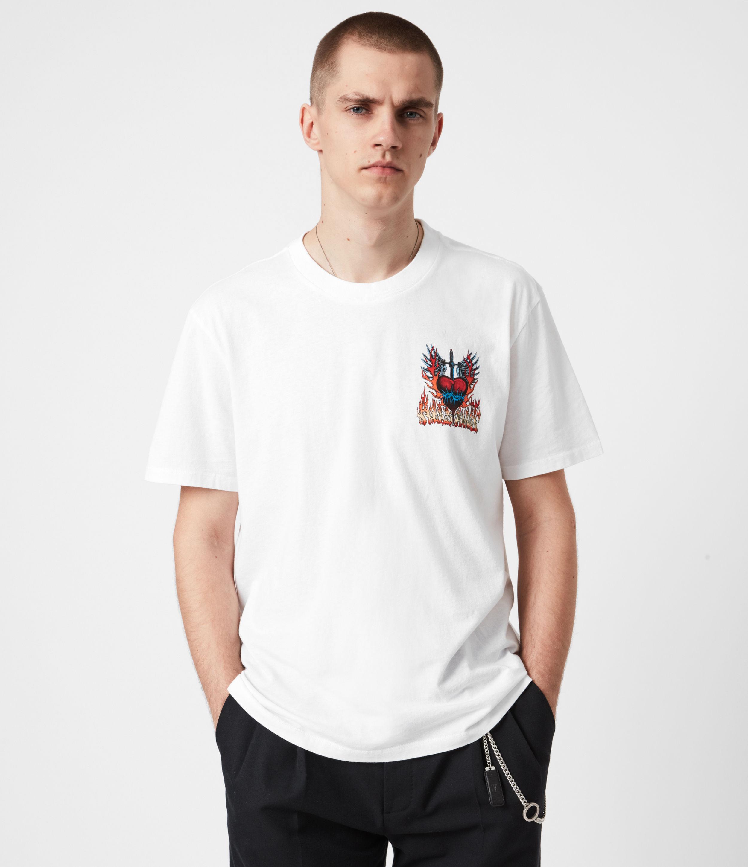 AllSaints Men's Cotton Graphic Print Relaxed Fit Valento Crew T-Shirt, White, Size: S