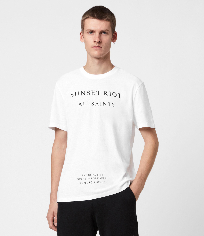 AllSaints Mens Sunset Riot Crew T-Shirt, Optic White, Size: XXL