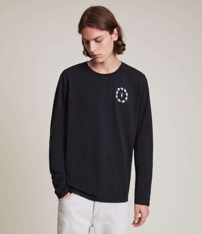 AllSaints Men's Bunch Brace Long Sleeve Crew T-Shirt, Black, Size: S