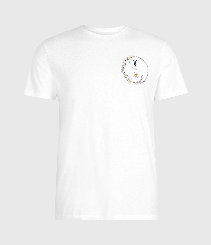 AllSaints Mens Daisy Chain Crew T-Shirt, Optic White, Size: XXL