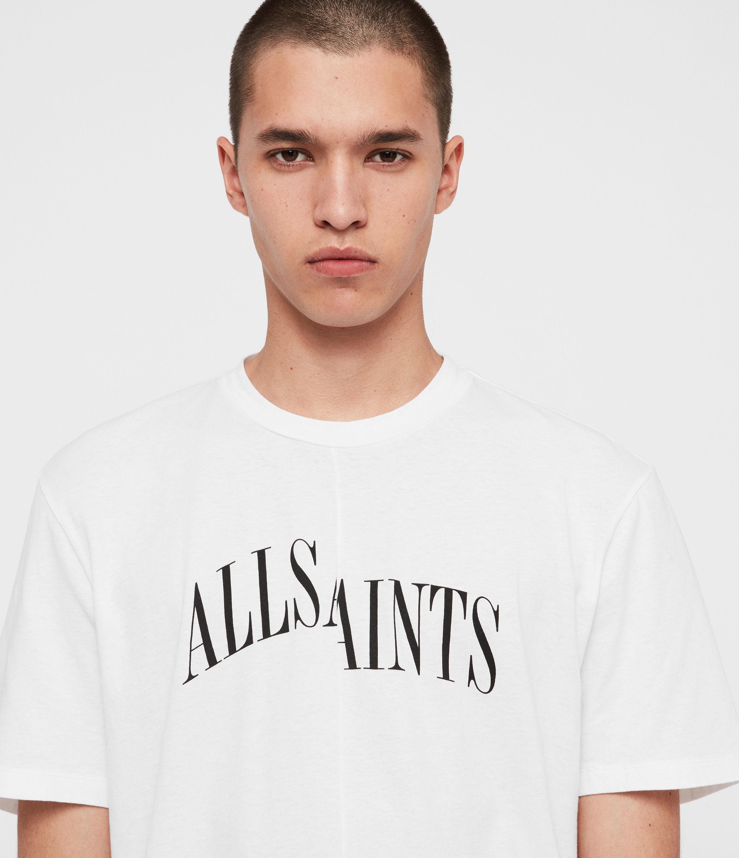 AllSaints Men's Cotton Relaxed Fit Logo Print Dropout Crew T-Shirt, White, Size: XS