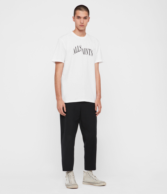 AllSaints Mens Dropout Crew T-Shirt, White, Size: M