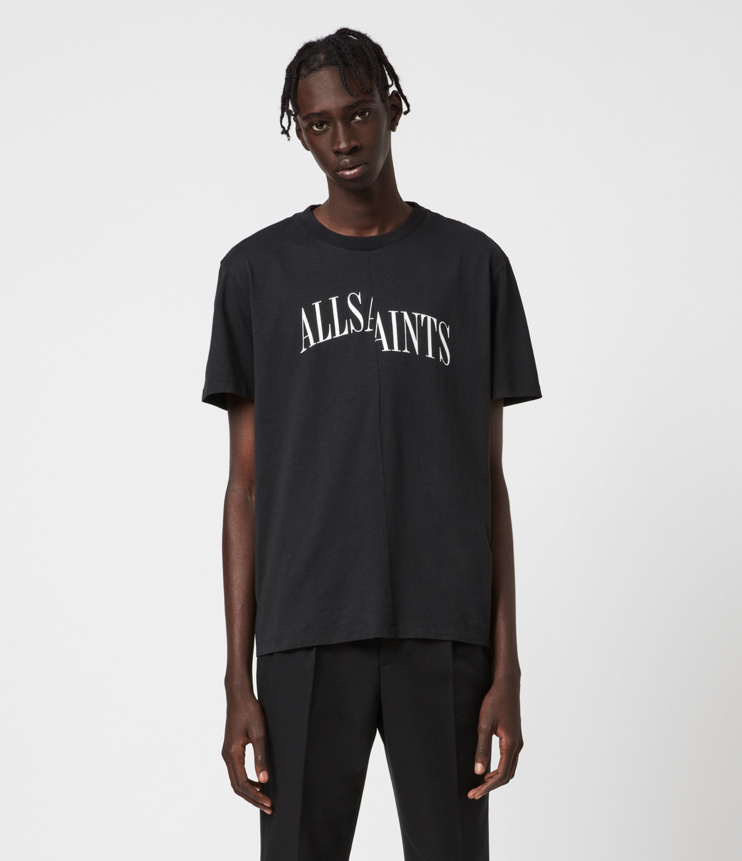 AllSaints Men's Cotton Relaxed Fit Logo Print Dropout Crew T-Shirt, Black, Size: XS