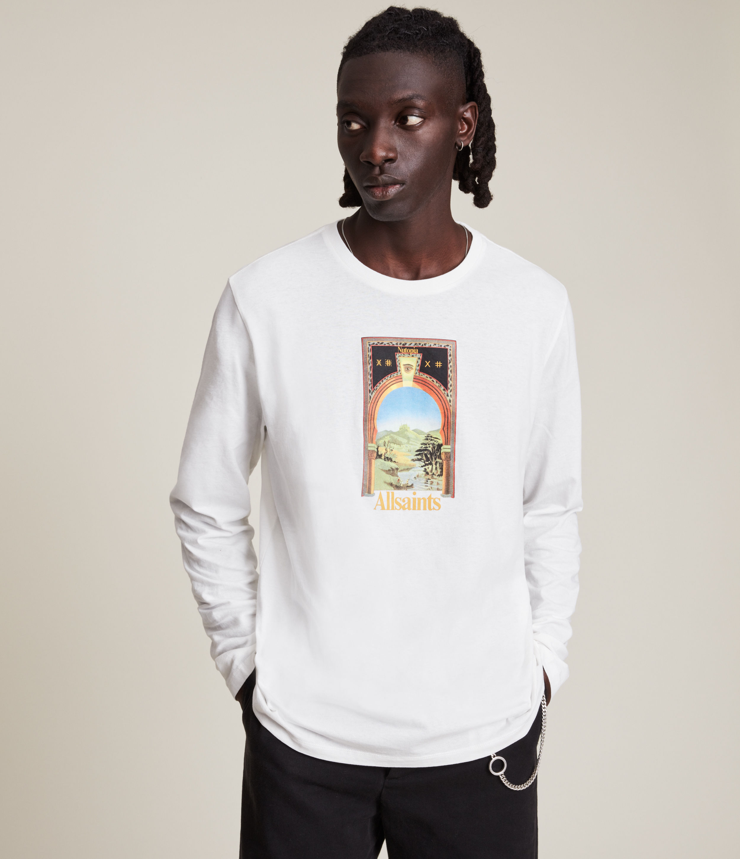 AllSaints Men's Kabbal Crew T-Shirt, Chalk White, Size: L