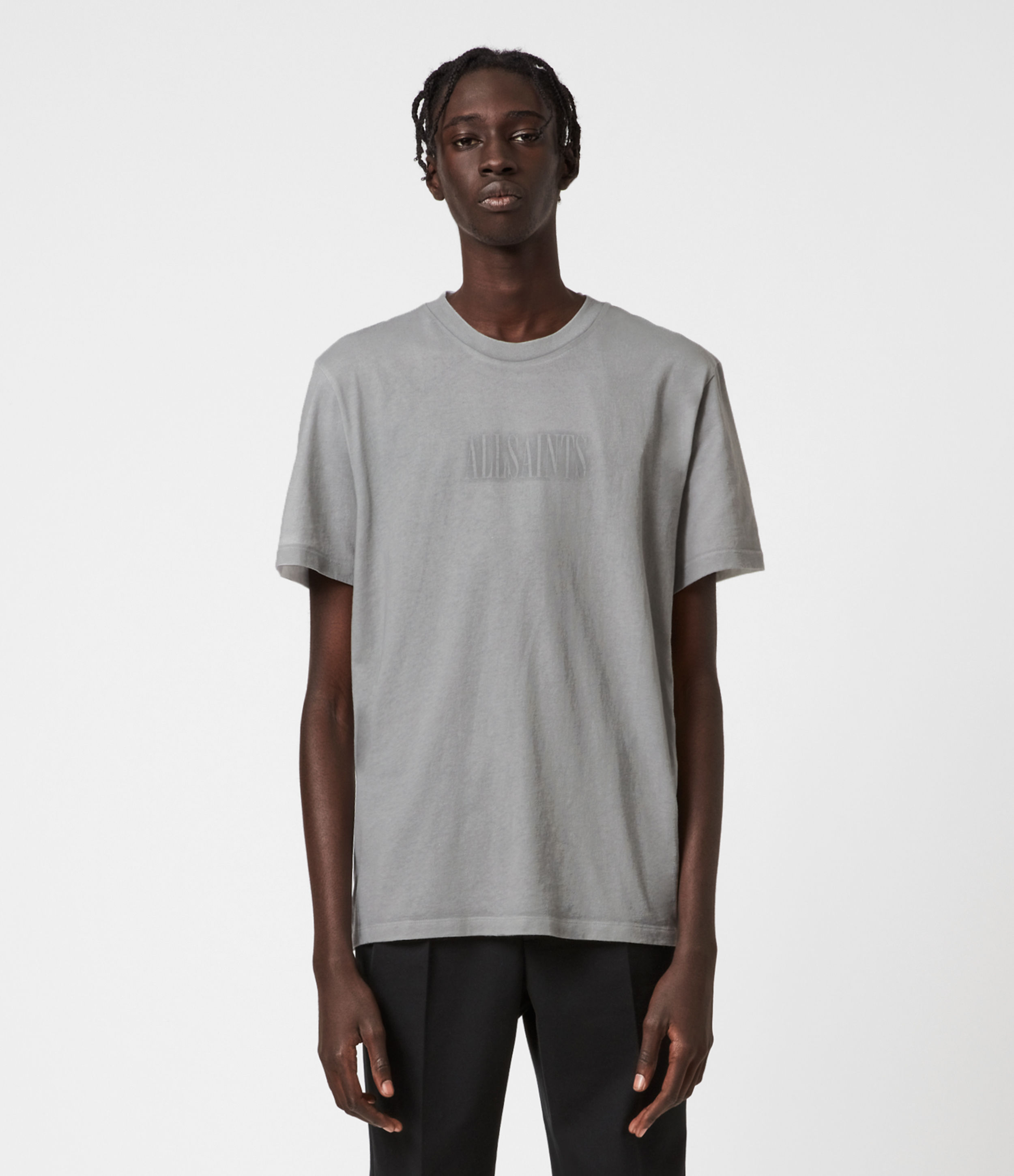 AllSaints Mens Highway Crew T-Shirt, Chalk/clay Grey, Size: M