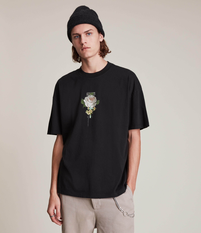 AllSaints Men's Wreath Crew T-Shirt, Washed Black, Size: L