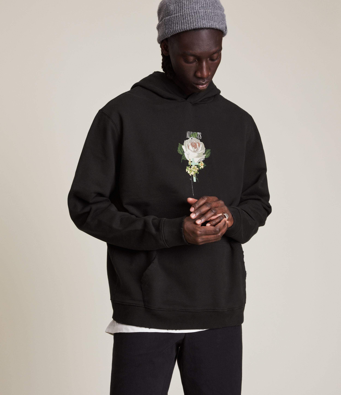 AllSaints Men's Wreath Pullover Hoodie, Black/White/Green, Size: L