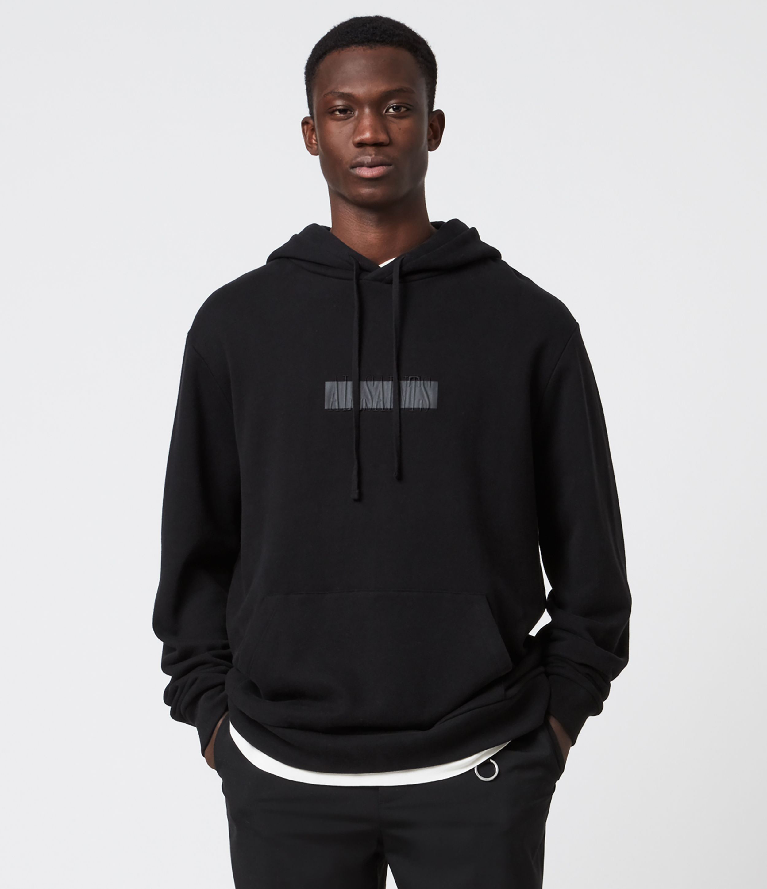 AllSaints Men's Cotton Embroidered Relaxed Fit Stamp Laminate Hoodie, Black, Size: XS