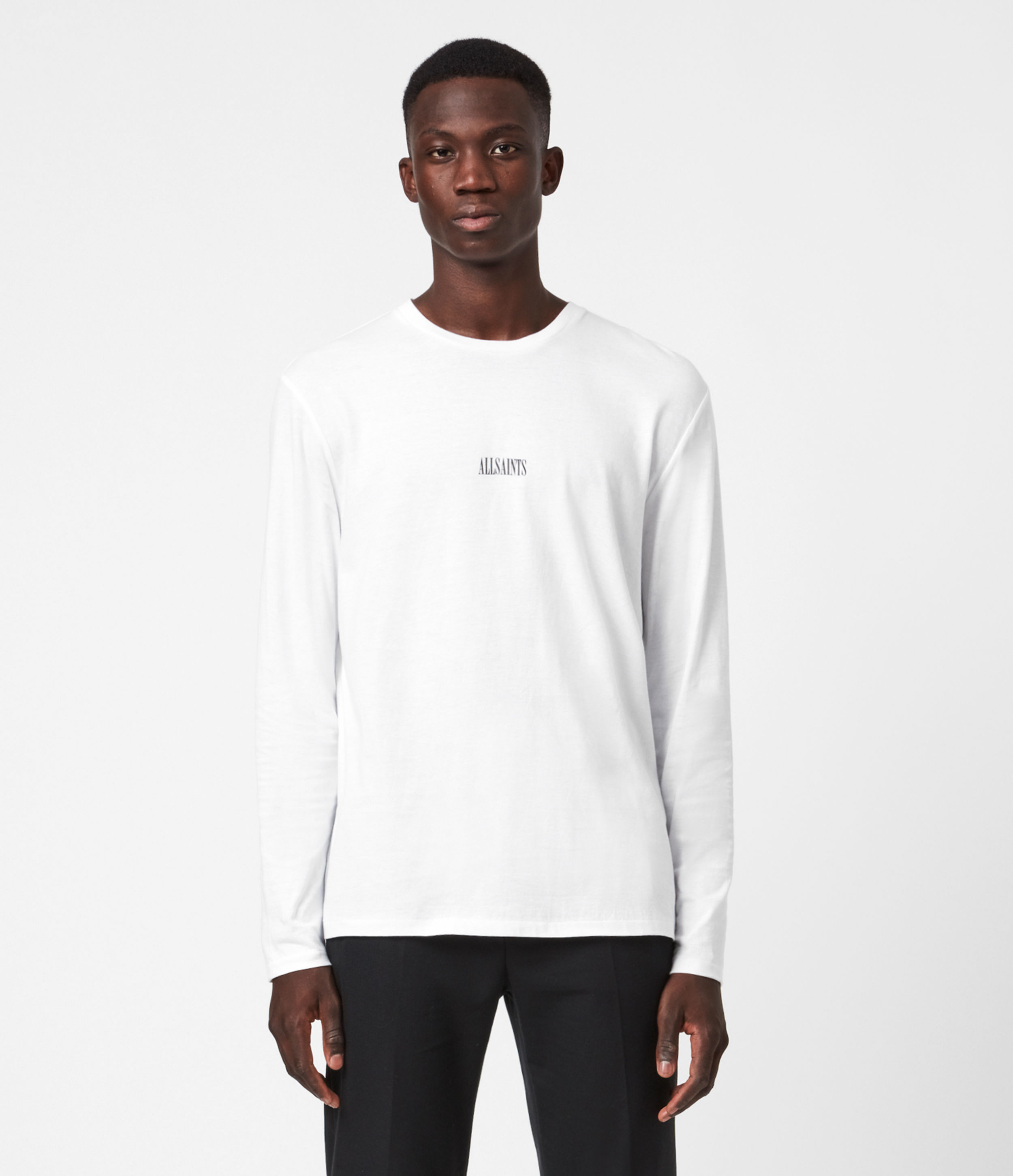 AllSaints Mens State Long Sleeve Crew T-Shirt, Optic White, Size: XS