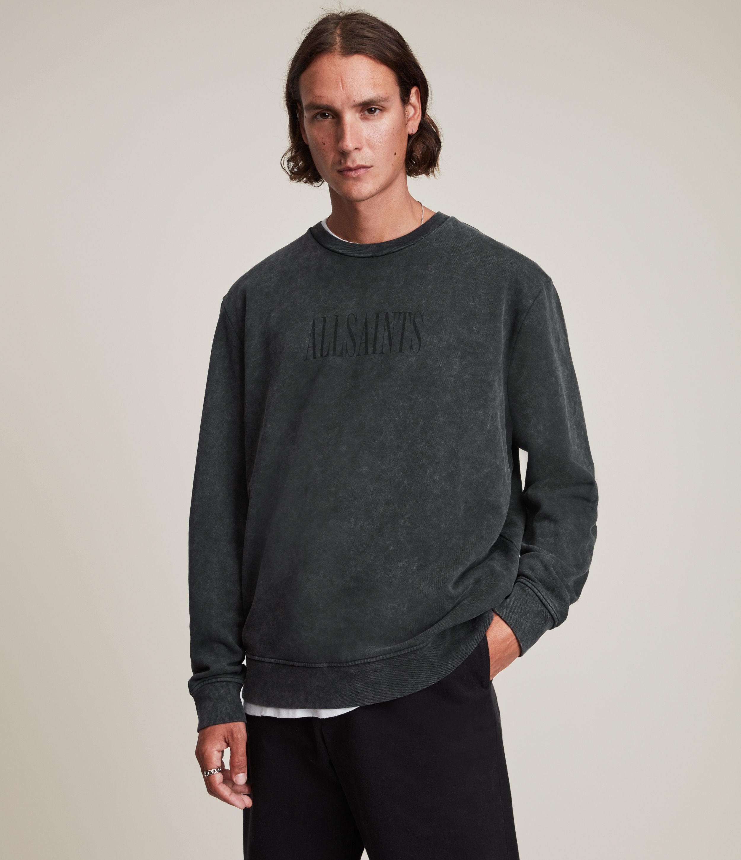 AllSaints Men's Gallo Crew Sweatshirt, Washed Black, Size: XS