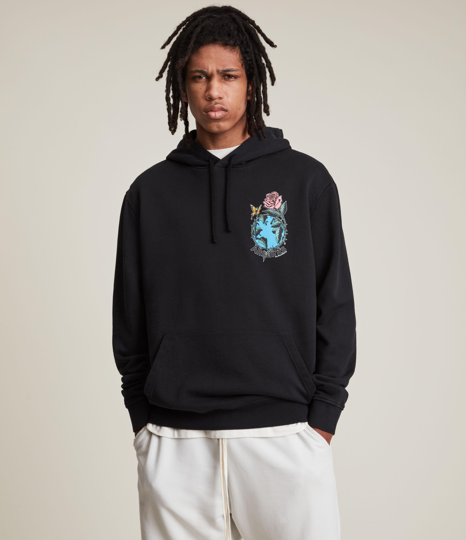AllSaints Men's Aquatique Pullover Hoodie, Jet Black, Size: L