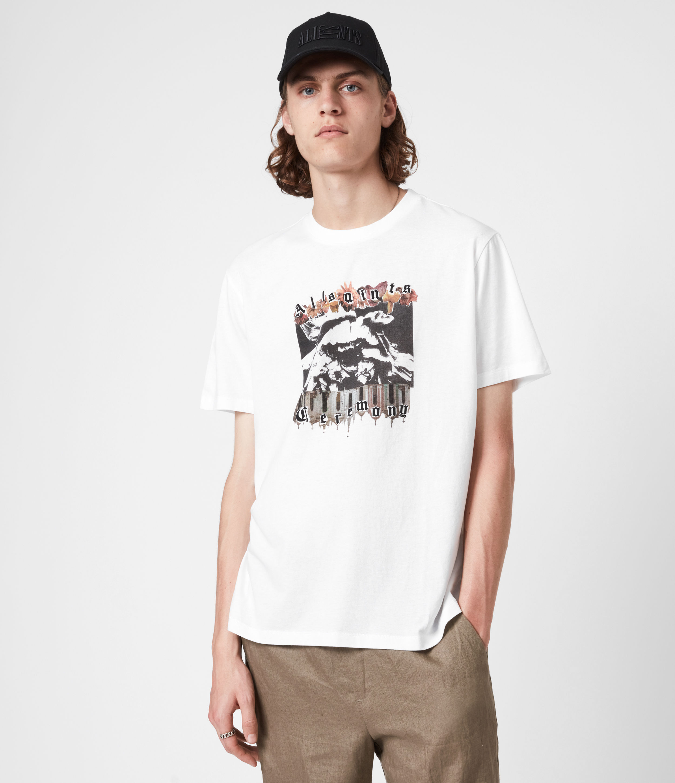 AllSaints Men's Crypto Crew T-Shirt, Optic White, Size: M
