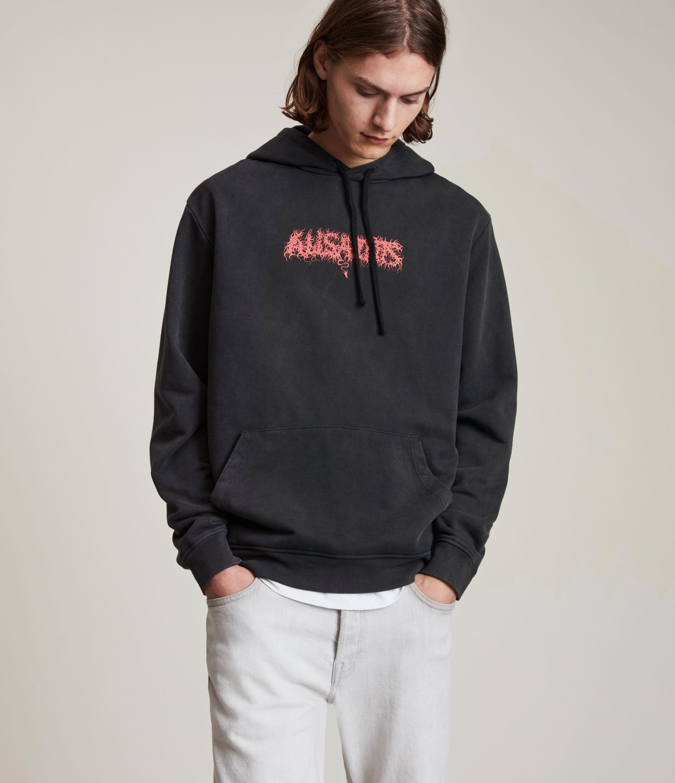 AllSaints Men's Aurocide Pullover Hoodie, Jet Black, Size: L