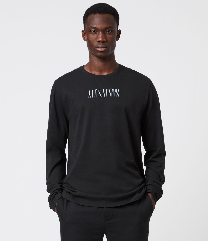 AllSaints Fadeout Stamp Long Sleeve Crew T-Shirt