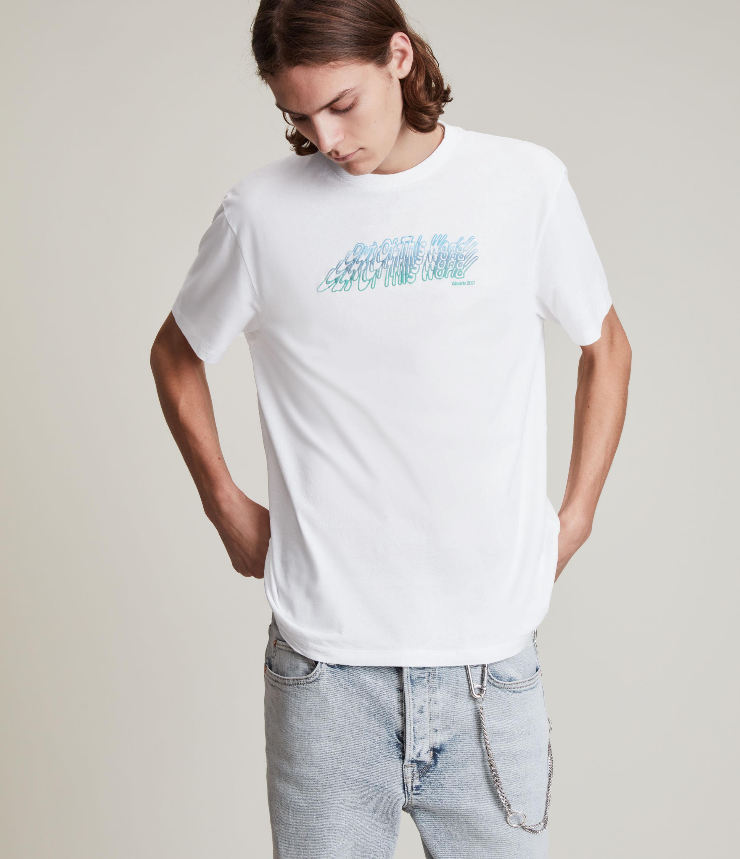 AllSaints Men's Odyssey Crew T-Shirt, Optic White, Size: M