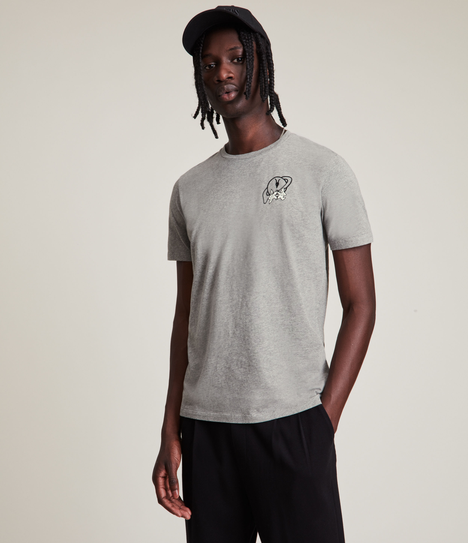 AllSaints Men's Saturnal Crew T-Shirt, Flint Grey, Size: XXL