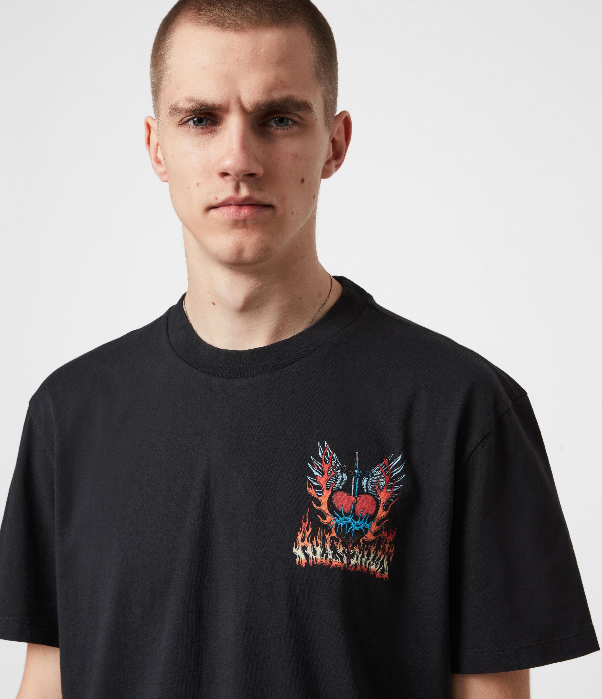 AllSaints Mens Valento Crew T-Shirt, Jet Black, Size: XS