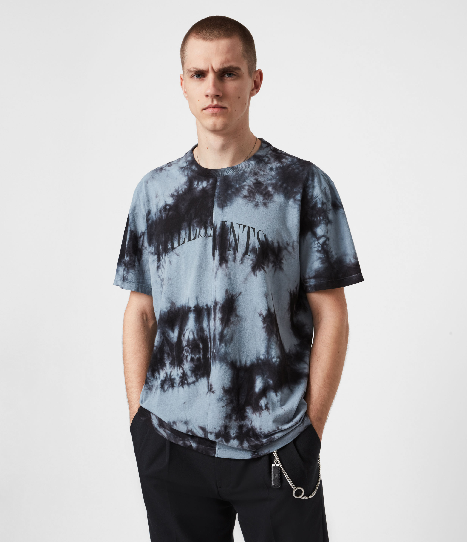 AllSaints Men's Cotton Relaxed Fit Dropout Tie Dye Crew Neck T-Shirt, Black and Grey, Size: XXL