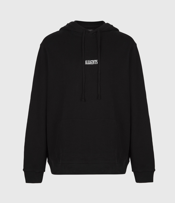 AllSaints Men's Cotton Logo Print Relaxed Fit Opposition Hoodie, Black, Size: M