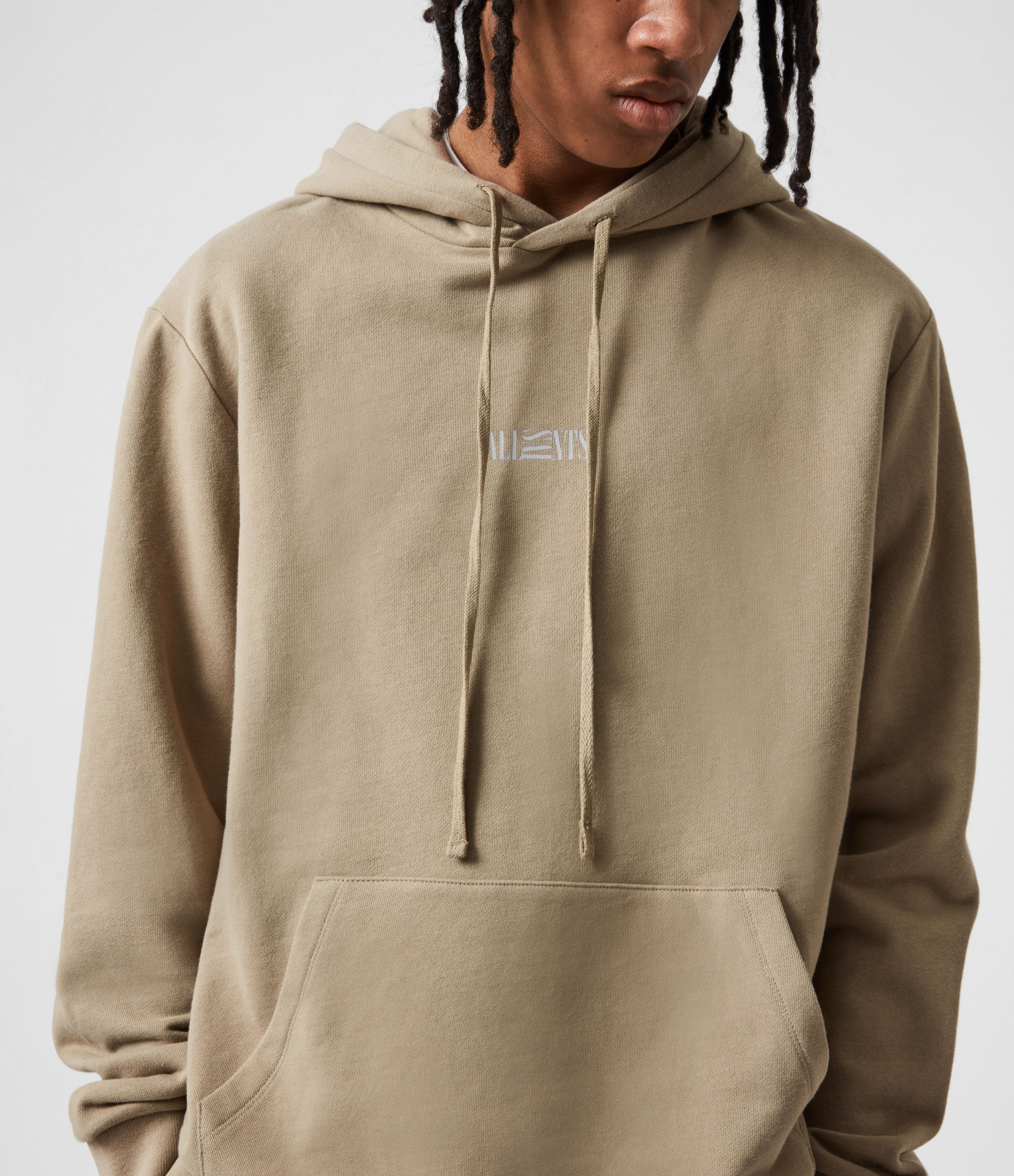 AllSaints Men's Opposition Hoodie, Pewter Grey, Size: XS