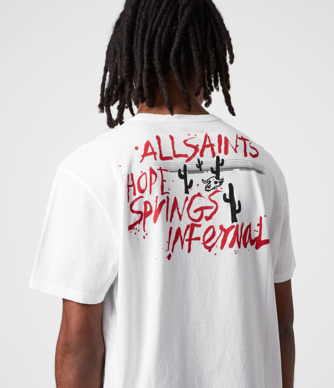 AllSaints Mens Raoul Crew T-Shirt, Optic White, Size: XXL