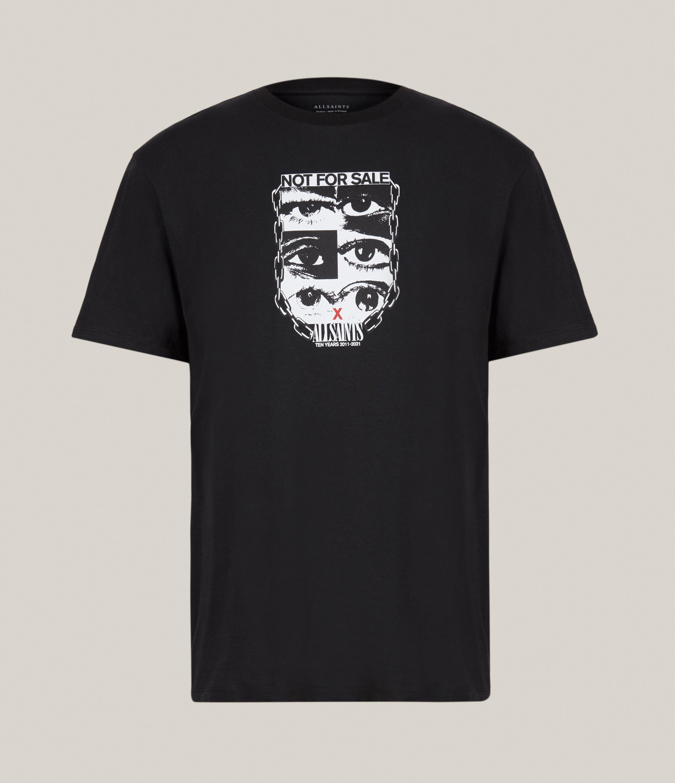 AllSaints Men's Not For Sale Optix Unisex Crew T-Shirt, Jet Black, Size: XS