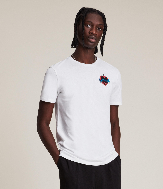 AllSaints Men's Spiked Brace Crew T-Shirt, Optic White, Size: L