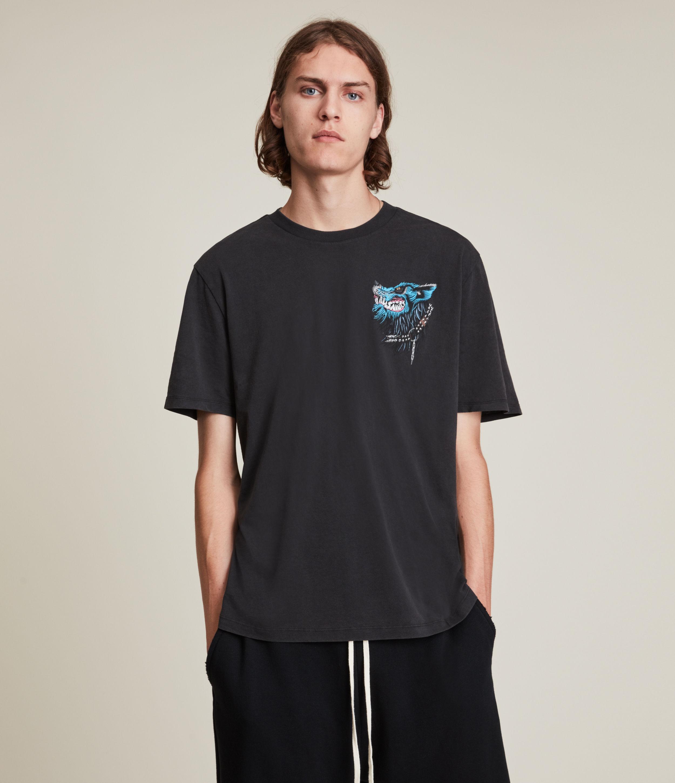 AllSaints Men's Gnasher Crew T-Shirt, Jet Black, Size: XS