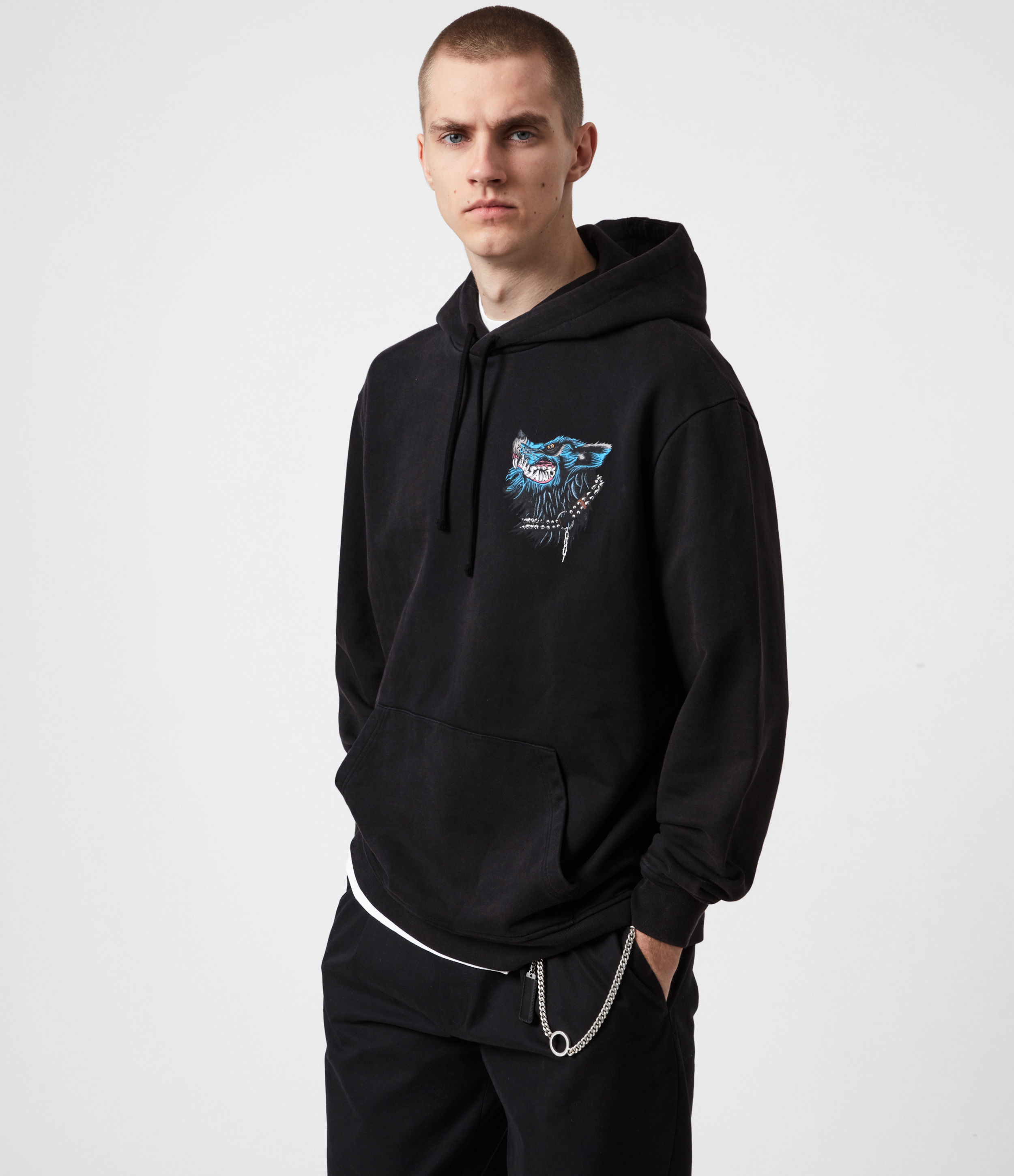 AllSaints Mens Gnasher Pullover Hoodie, Jet Black, Size: XXL