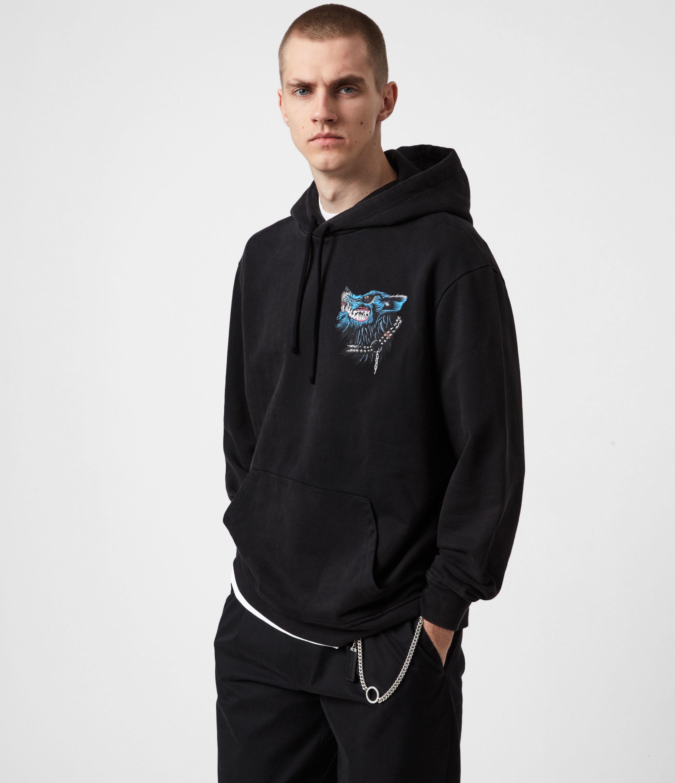AllSaints Mens Gnasher Pullover Hoodie, Jet Black, Size: XL