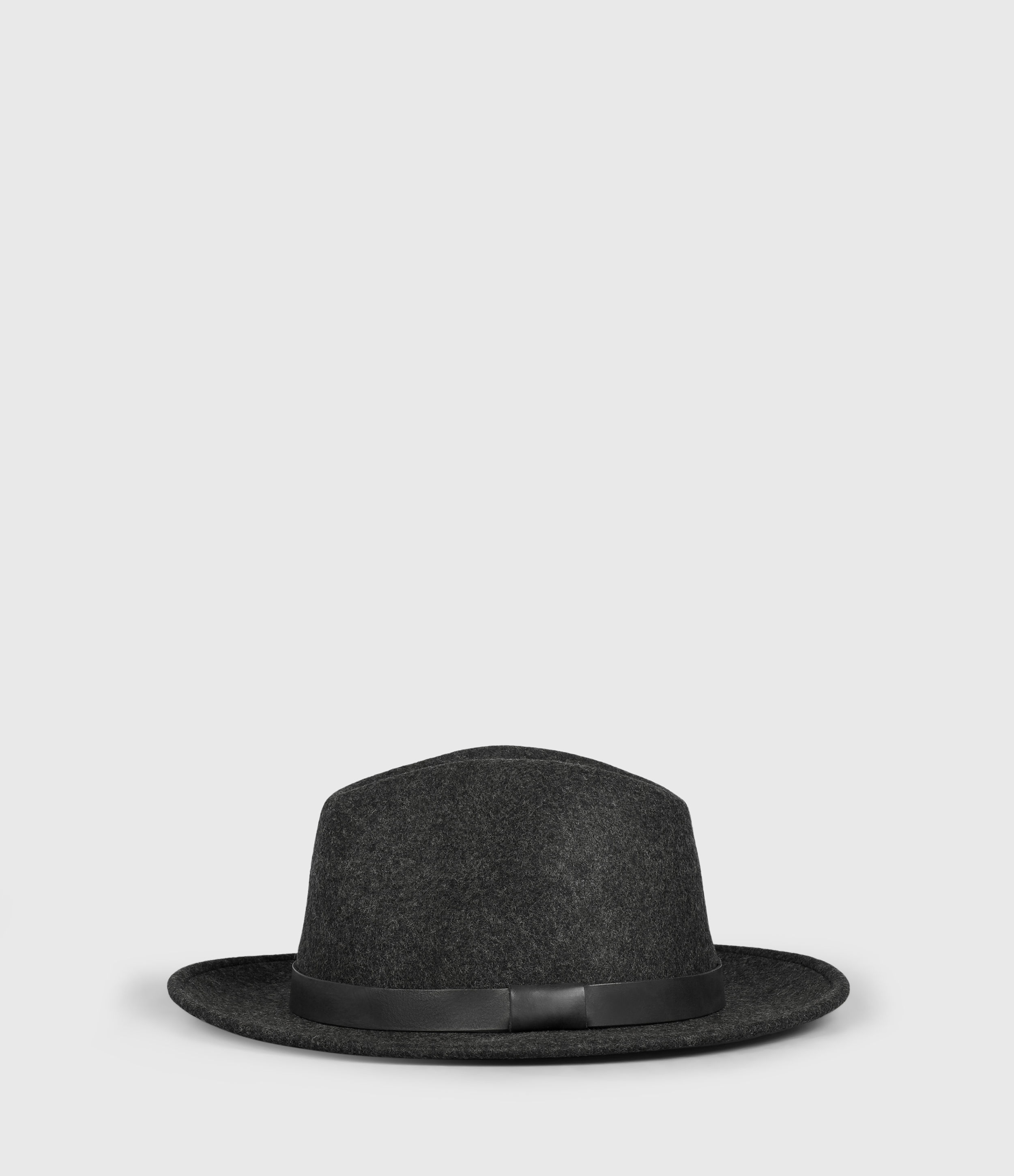 AllSaints Men's Classic Leather Bronson Fully Lined Fedora Hat, Black, Size: S/M