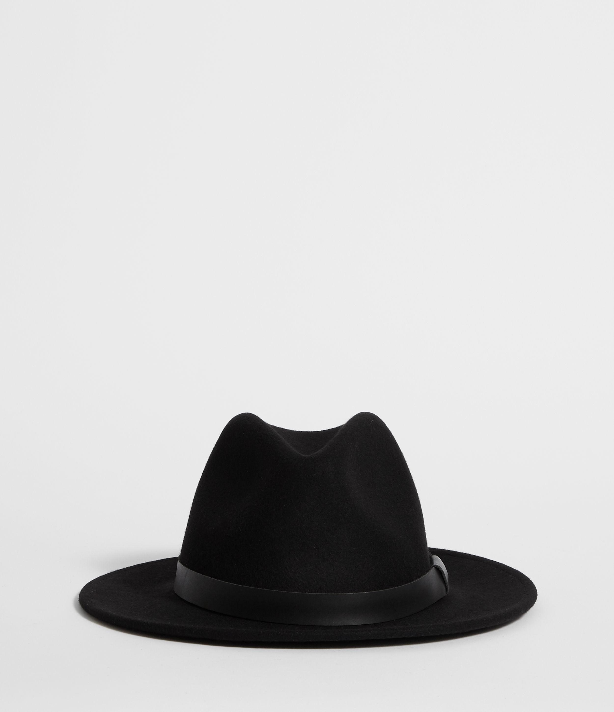 AllSaints Men's Wool Classic Bronson Leather Fedora Hat, Black, Size: M/L