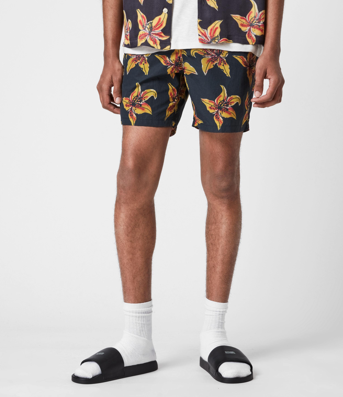AllSaints Men's Hibiscus Swim Shorts, Black, Size: S