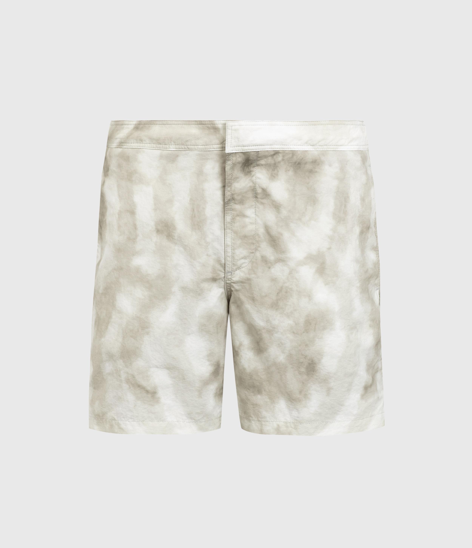 AllSaints Mens Tucker Tie Dye Swim Shorts, Light Grey, Size: M
