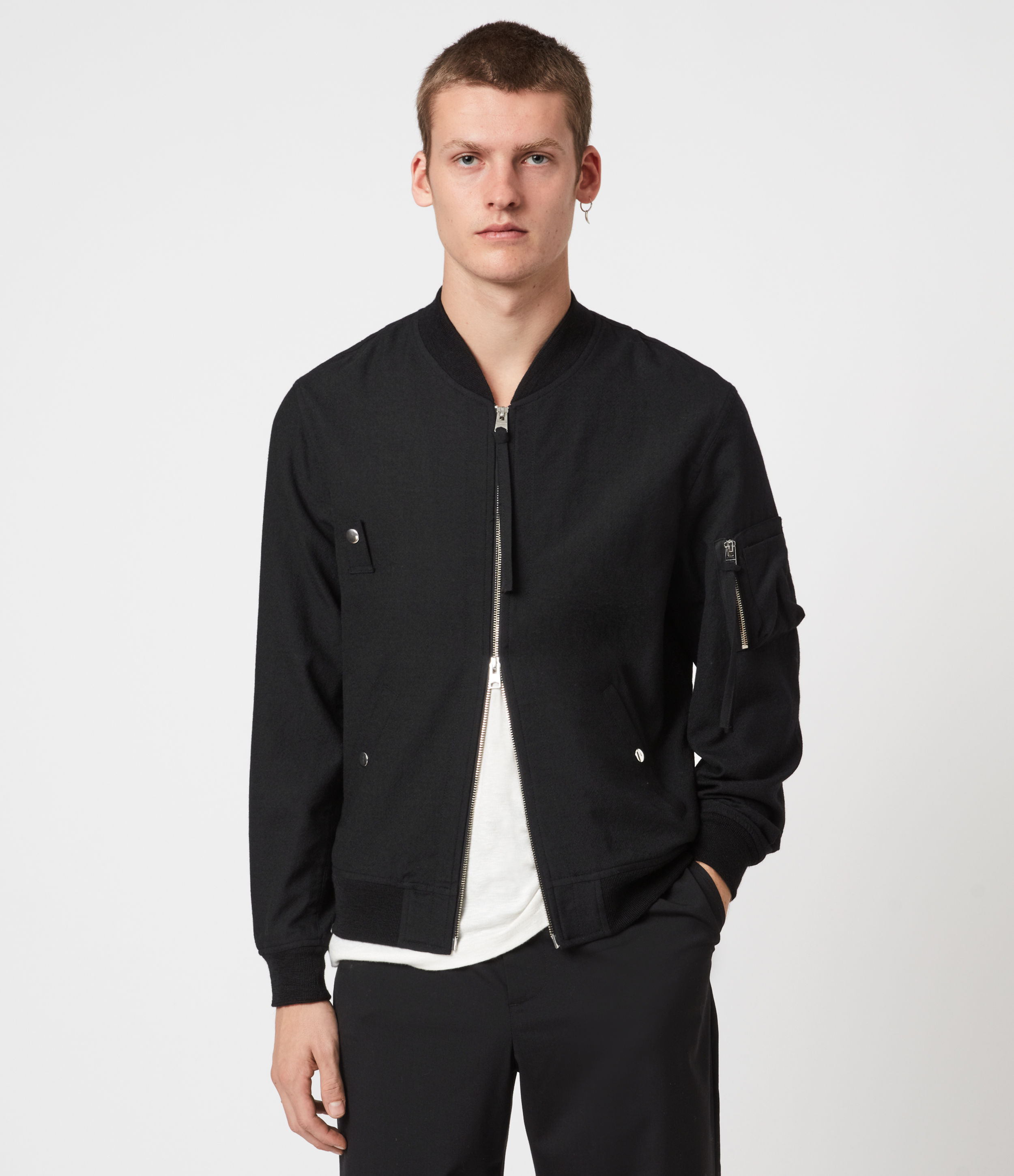 AllSaints Mens Neo Bomber Jacket, Black, Size: XL
