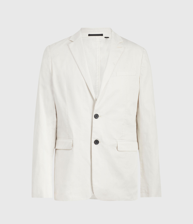 AllSaints Men's Cotton Slim Fit Andaman Blazer, White, Size: 40