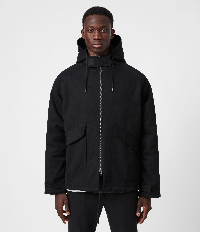 AllSaints Mens Jace Parka Coat, Black, Size: XL