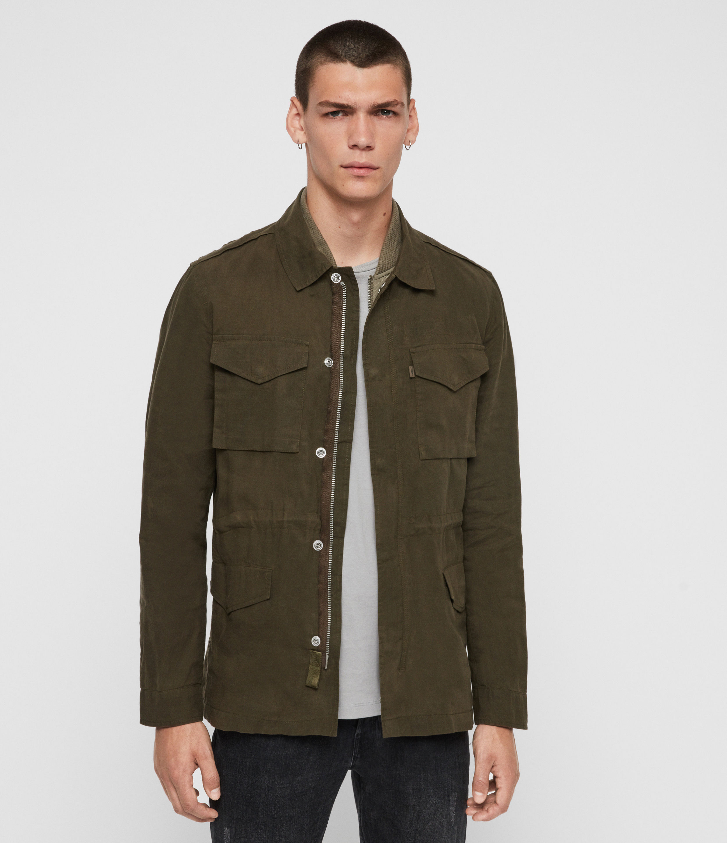 AllSaints Men's Cotton Regular Fit Baynes Jacket, Brown, Size: L