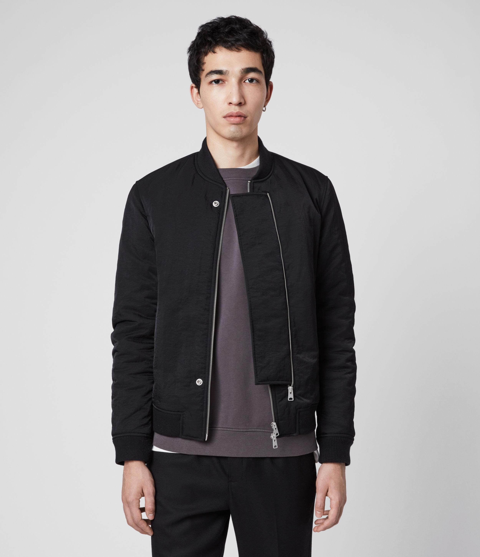 AllSaints Mens Walcot Bomber Jacket, Black, Size: M