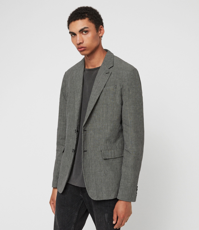 AllSaints Mens Chiltern Blazer, Grey, Size: 42