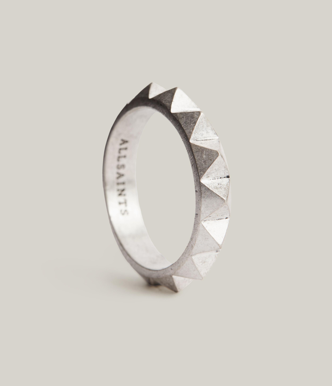 AllSaints Men's Juno Sterling Silver Ring, Warm Silver, Size: S