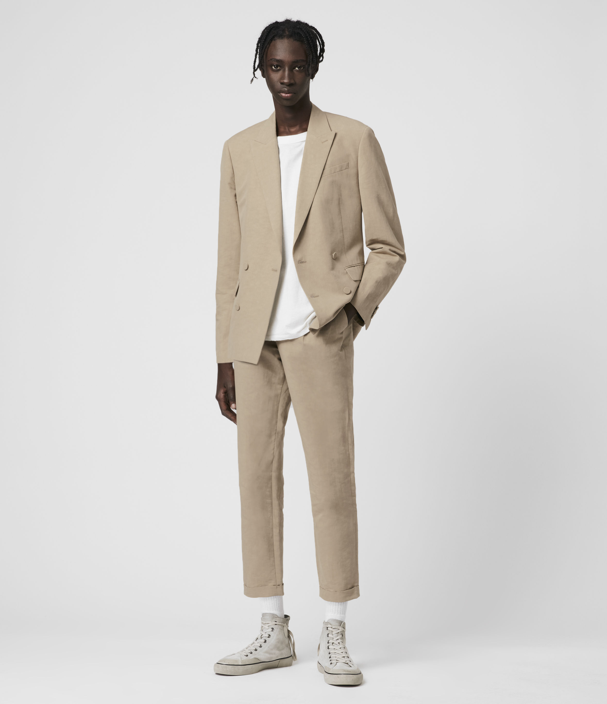 AllSaints Mens Chiswell Linen Blend Blazer, Brown, Size: 38
