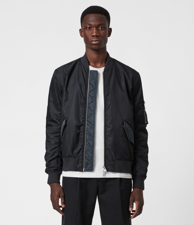AllSaints Men's Cotton Relaxed Fit Regulus Bomber Jacket, Blue, Size: S