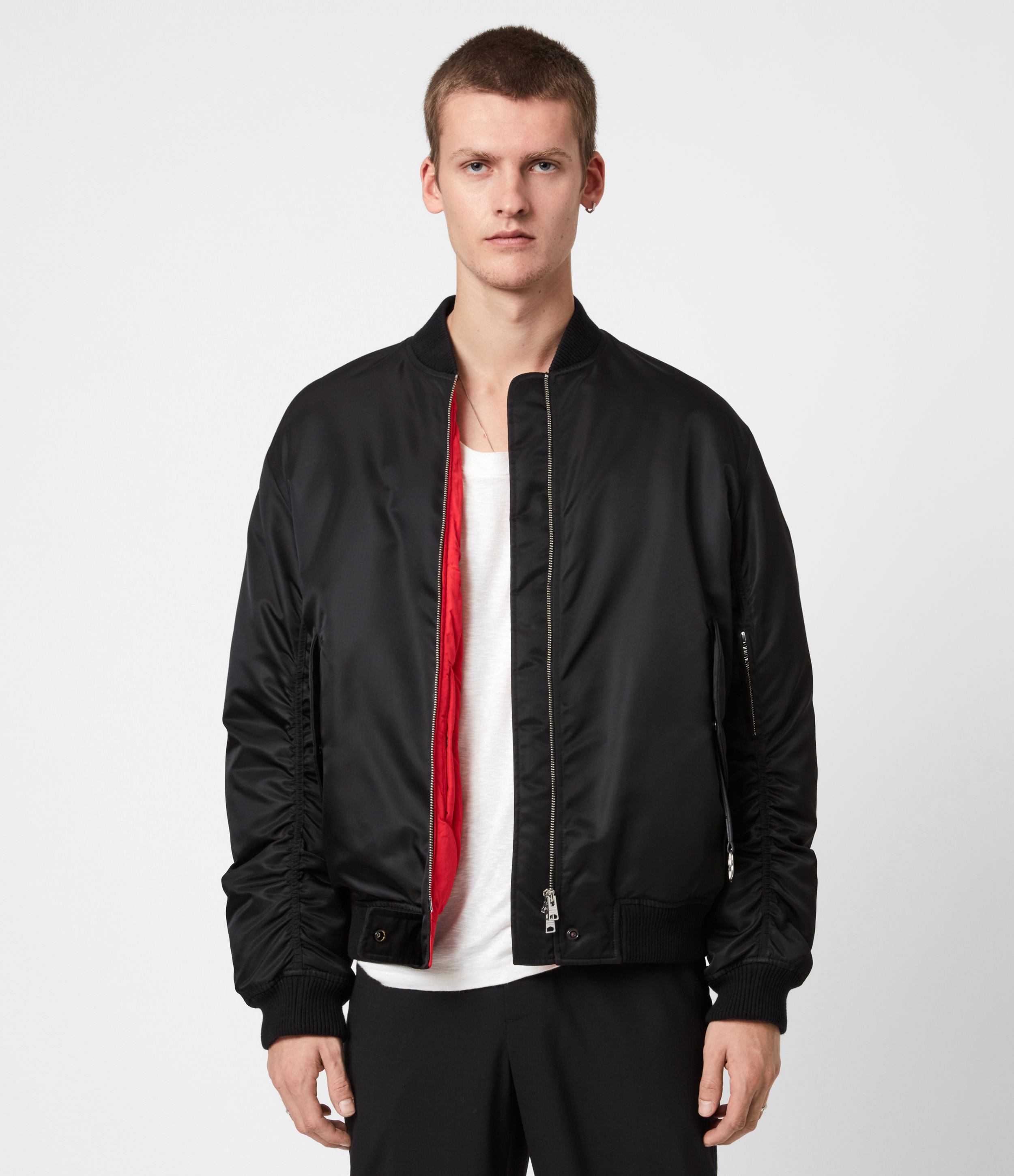AllSaints Men's Cotton Regular Fit Axel Zip Closure Bomber Jacket, Black, Size: M