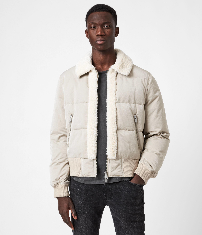 AllSaints Men's Cotton Regular Fit Gowers Sherpa-Lined Puffer Jacket, Beige, Size: L
