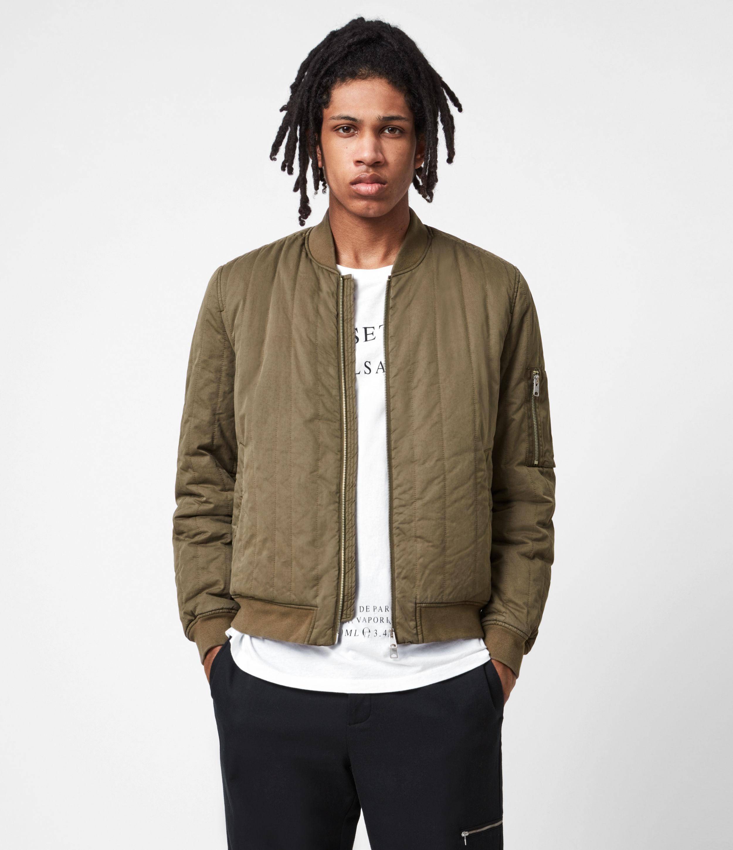 AllSaints Men's Drake Bomber Jacket, Green, Size: M